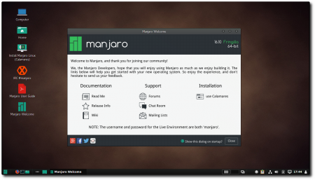 Новости: MANJARO LINUX 16.10 COMMUNITY EDITIONS