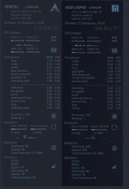 Оформление  и Скриншоты: conky prewiev Arch Manjaro small v-3