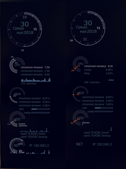 Оформление  и Скриншоты: conky lua circle v-1 -2 screen