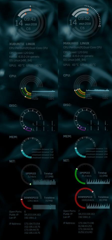 Оформление  и Скриншоты: conky clean and clock gray