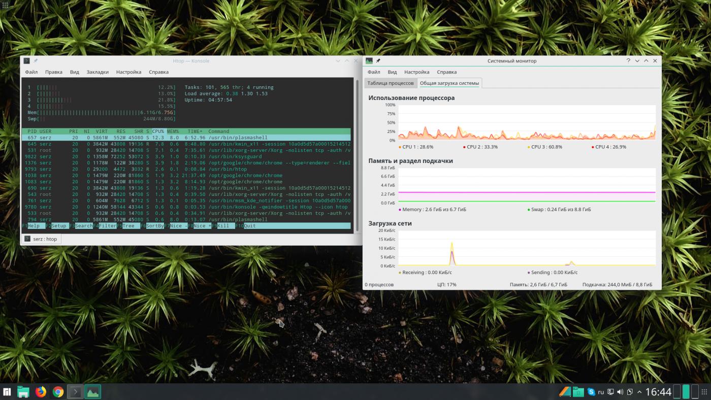 Manjaro KDE Edition: Разные данные оперативной памяти