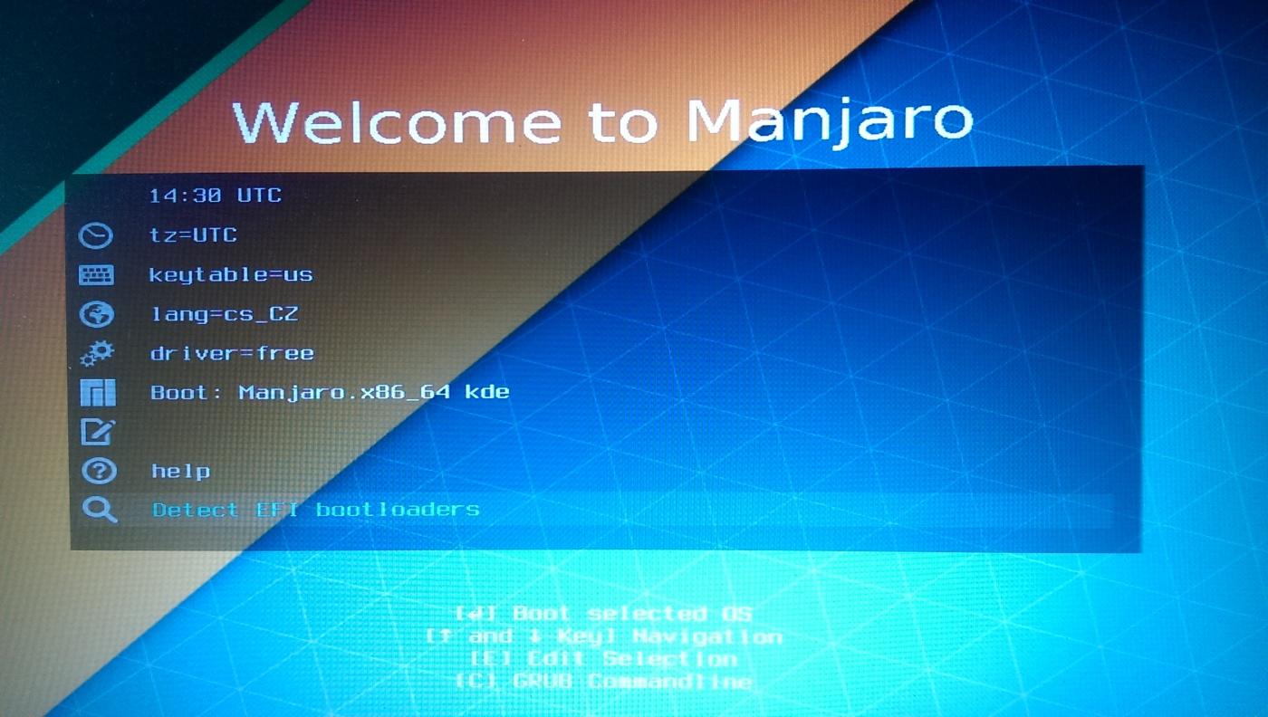 Manjaro KDE Edition: Не запускает manjaro после установки