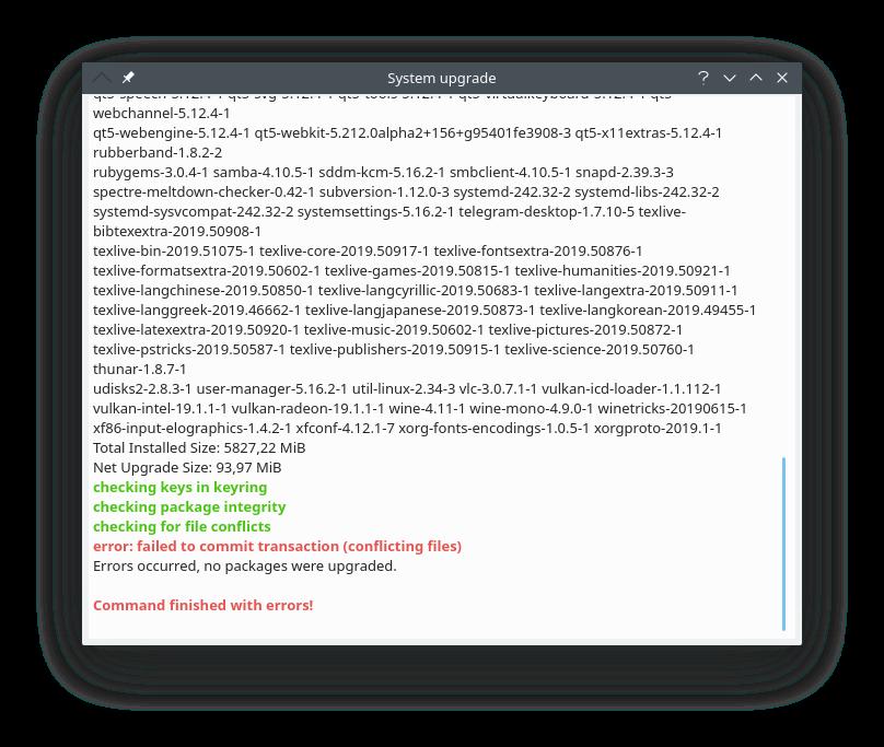 Manjaro KDE Edition: Не обновляется manjaro kde