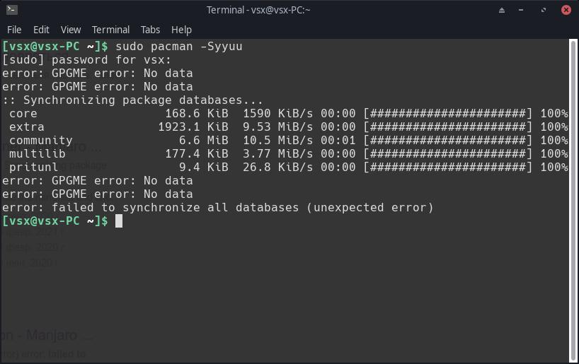 Manjaro XFCE Edition: не обновляется Manjaro XFCE