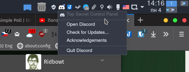 Уголок новичка: Manjaro KDE - трей - левая кнопка мыши не открывает приложение, а вызывает контекстное меню