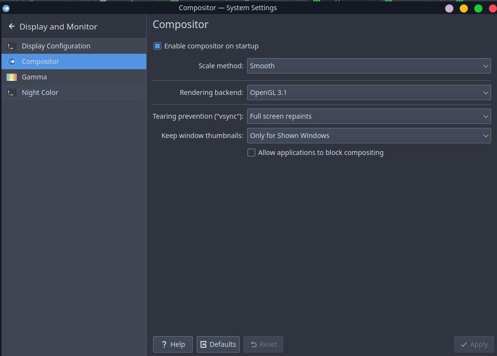 "Manjaro KDE Edition: Включить в настройках экрана ""Full screen repaints"" (""Полная отрисовка"")"