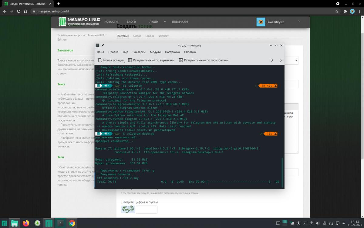 Manjaro KDE Edition: aur не работает